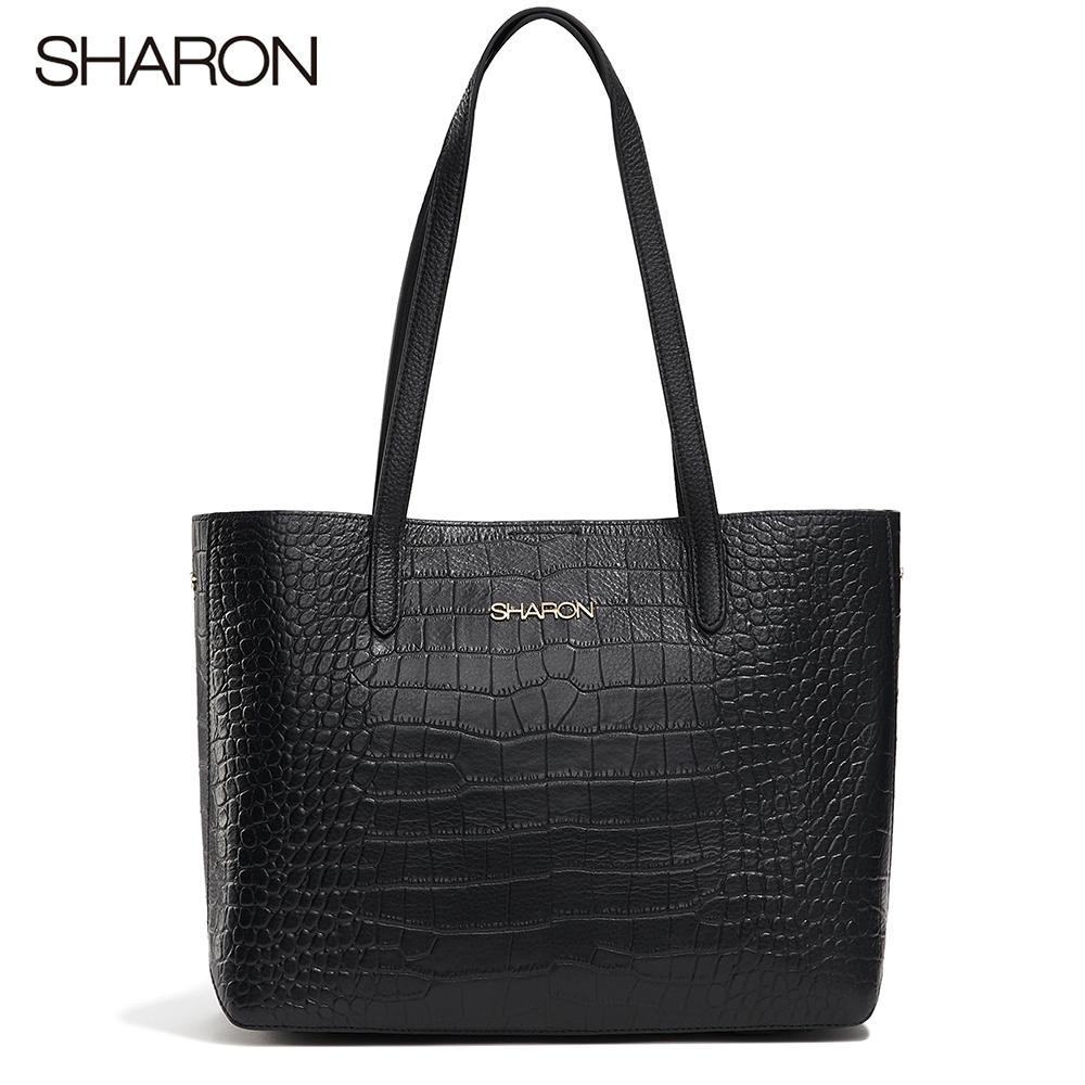 【SHARON 雪恩】頭層牛皮Emma鱷紋托特包(黑色42052BK)