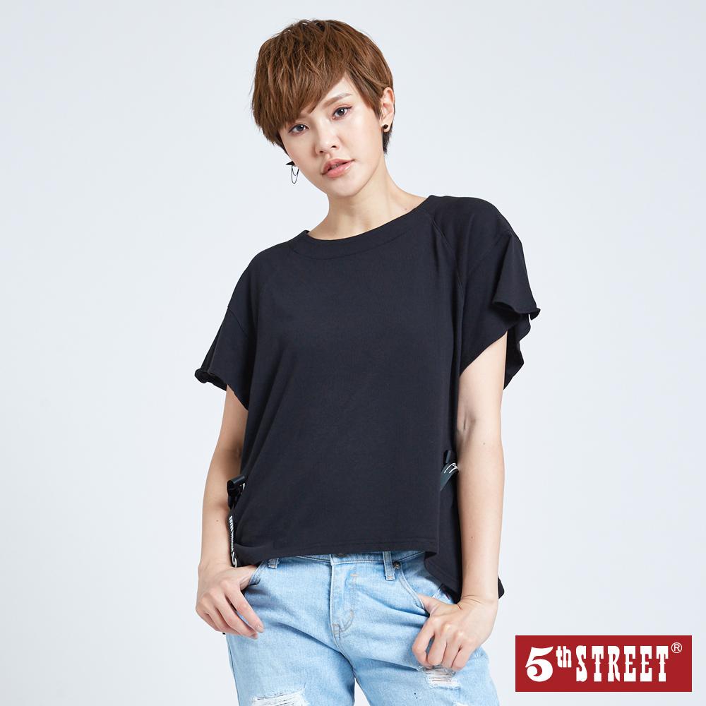 5th STREET 綁帶造型短袖T恤-女-黑色