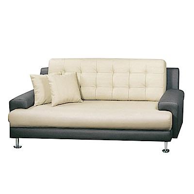 綠活居 西納羅時尚雙色透氣皮革三人座沙發椅-188x82x85免組