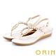 ORIN 花朵造型鑽飾牛皮夾腳 女 涼鞋 杏色 product thumbnail 1