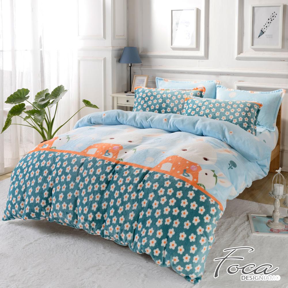 FOCA甜心兔寶寶   單人舖棉床包-極緻保暖法萊絨三件式兩用毯被套厚包組