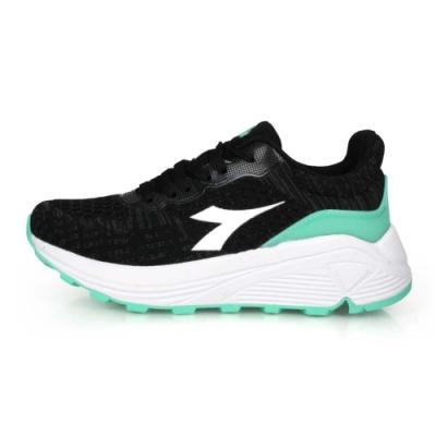 DIADORA 女 段專業避震慢跑鞋-寬楦 黑湖水綠