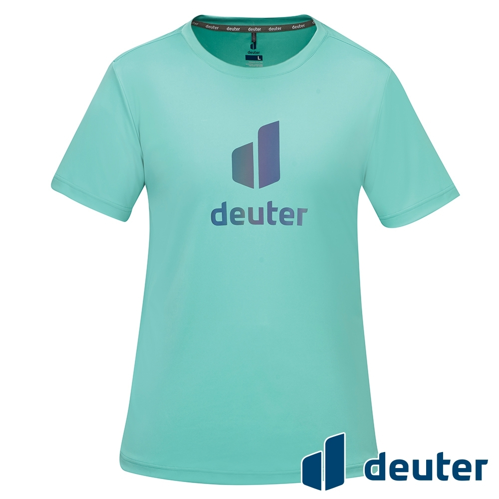 【deuter 德國】男款經典炫光LOGO休閒短袖T恤DE-T2101M鼠尾草綠/吸濕排汗/輕薄透氣/反光圖T