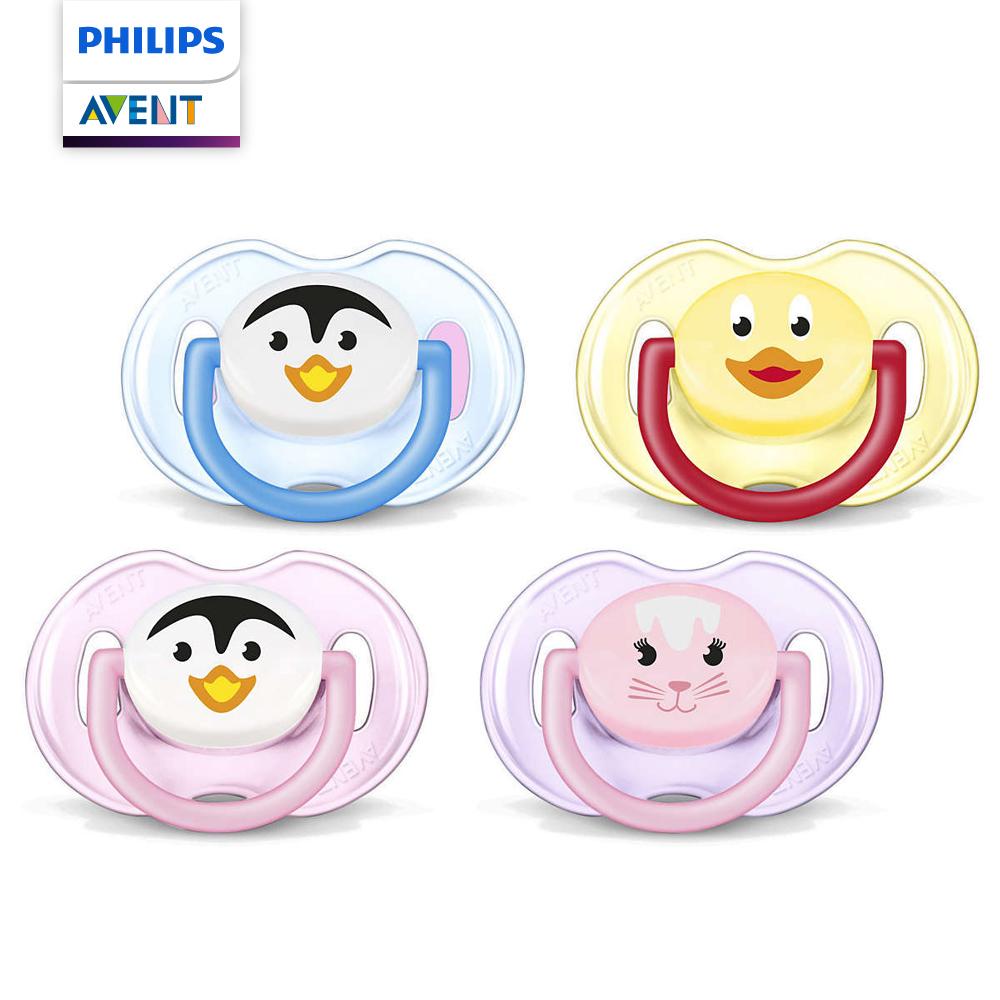PHILIPS AVENT 矽膠卡通系列 安撫奶嘴0~6M+粉紫/藍黃 SCF182/23
