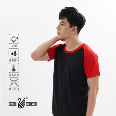 【遊遍天下】MIT中性款吸濕排汗抗UV機能圓領衫GS2009黑紅