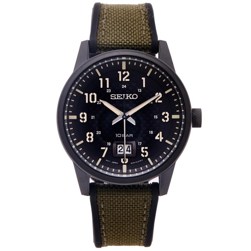 SEIKO 率性時尚橡膠與帆布帶材質錶帶手錶(SUR325P1)-黑面X綠色40mm