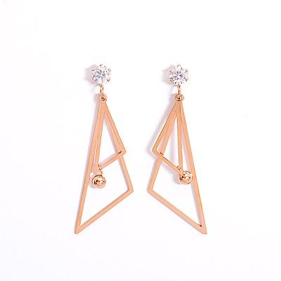 微醺禮物 正韓 低過敏 鋼針 鋼飾 單顆鋯石 垂墜大小三角形 中垂墜小珠 耳環