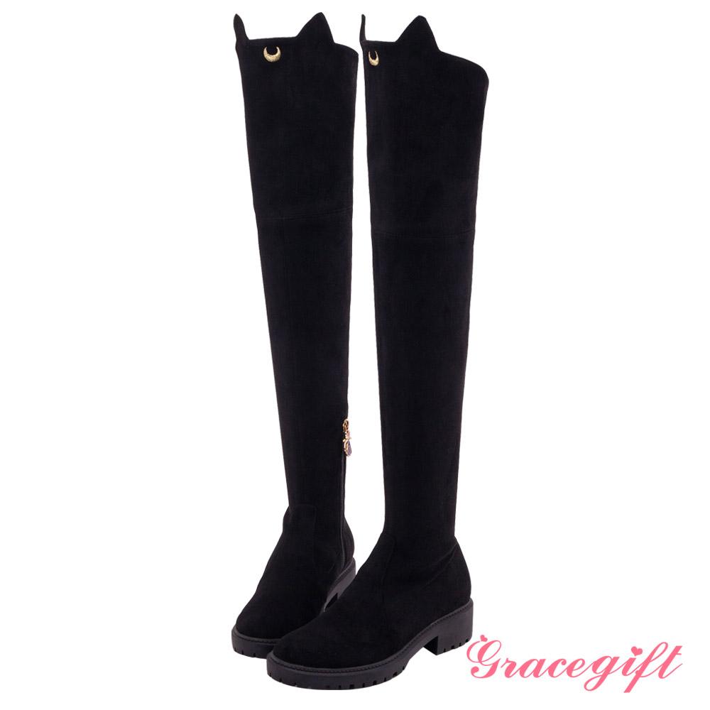 Grace gift-美少女戰士LUNA貓耳造型膝上靴 黑