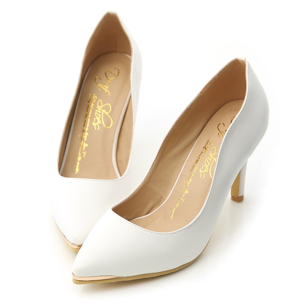 D+AF 魅力佳人‧金屬鑲片素面尖頭高跟鞋*白