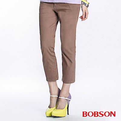 BOBSON 女款高腰套染七分褲(駝197-71)