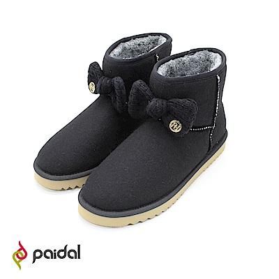 Paidal古典針織蝴蝶結內鋪毛短筒雪靴-黑