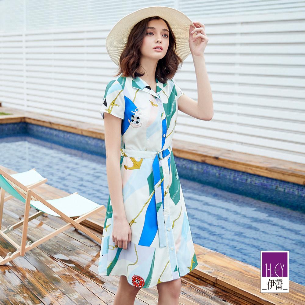 ILEY伊蕾 航海風印花洋裝(白)