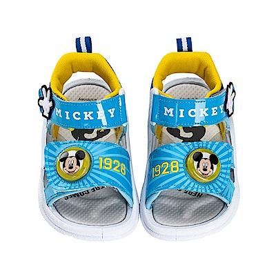 迪士尼童鞋 米奇 經典電燈涼鞋-藍
