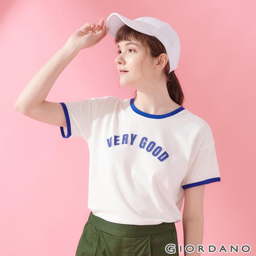 GIORDANO 女裝復古風格印花短袖寬版T恤-11 皎雪/衝浪藍
