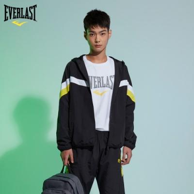 【EVERLAST】運動風格斜條撞色 防風衝鋒 連帽外套 (黑/黃)