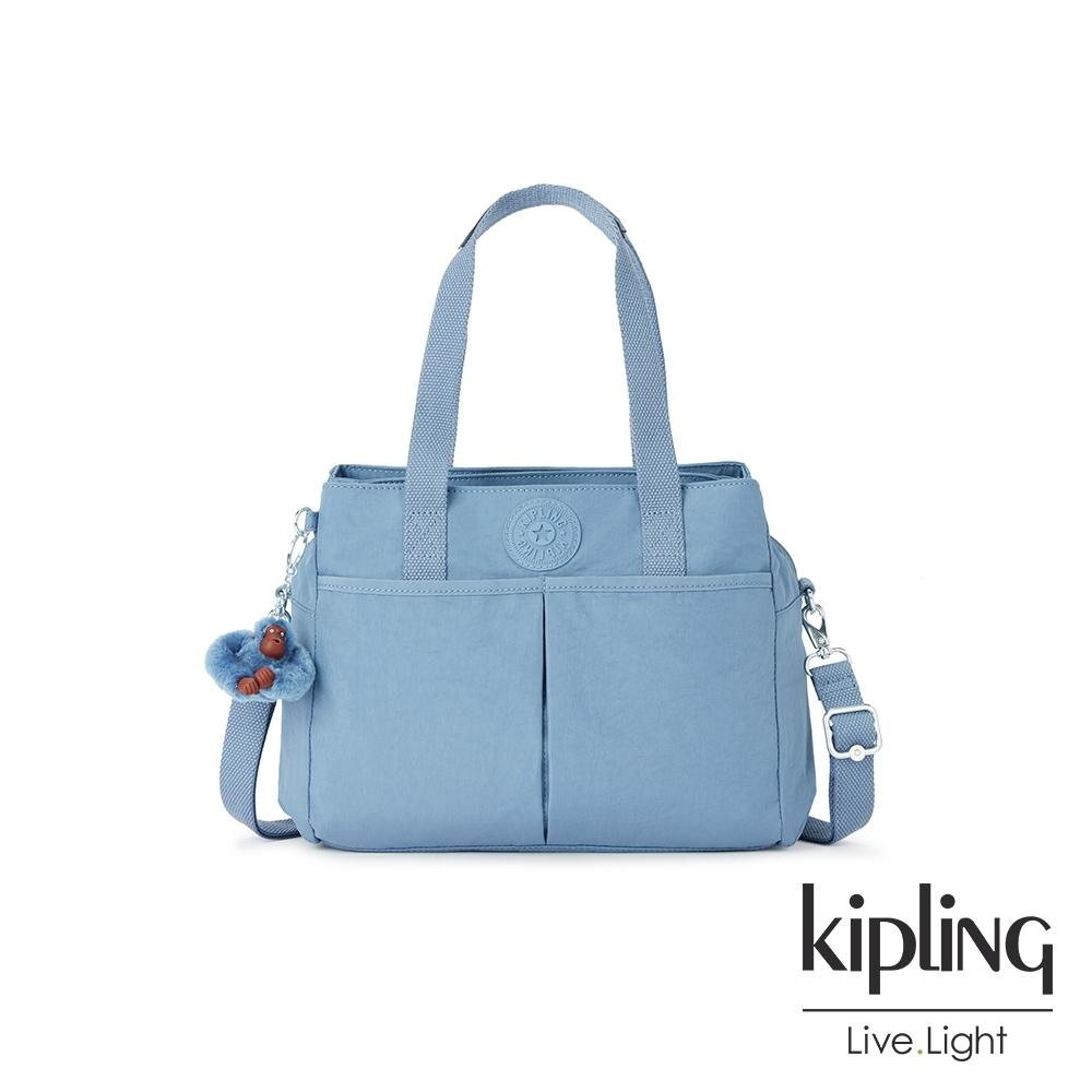 Kipling 氣質粉嫩藍大容量手提兩用包-KENZIE