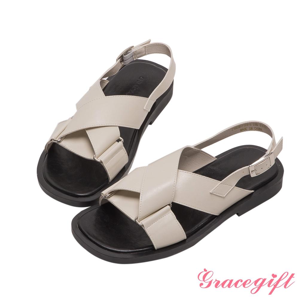 Grace gift-交叉寬帶拼接平底涼鞋 米白