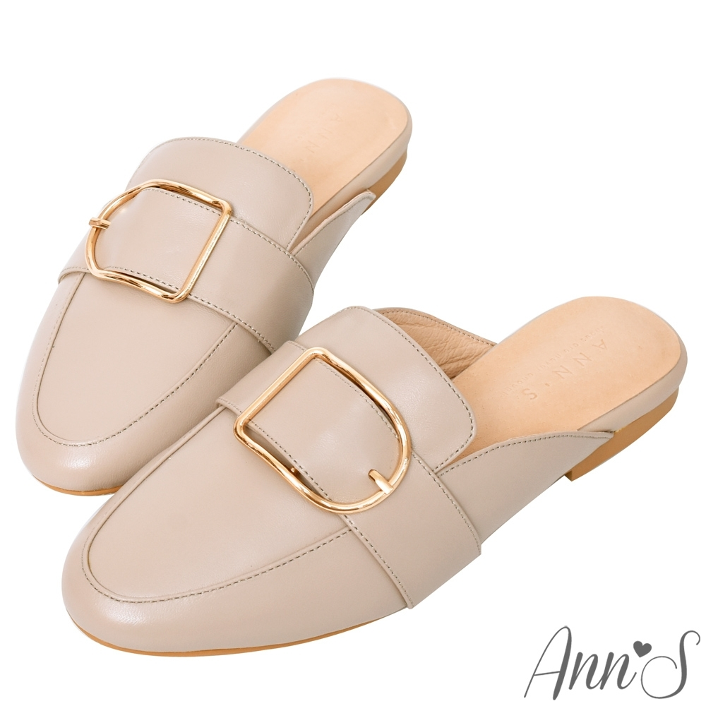 Ann'S質感真小羊皮D型扣帶穆勒鞋-粉(版型偏小)
