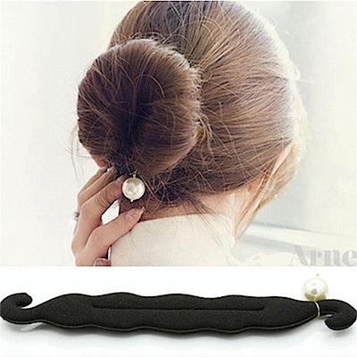 Hera赫拉 珍珠吊飾花苞頭/丸子頭盤髮髮棒(黑色) @ Y!購物