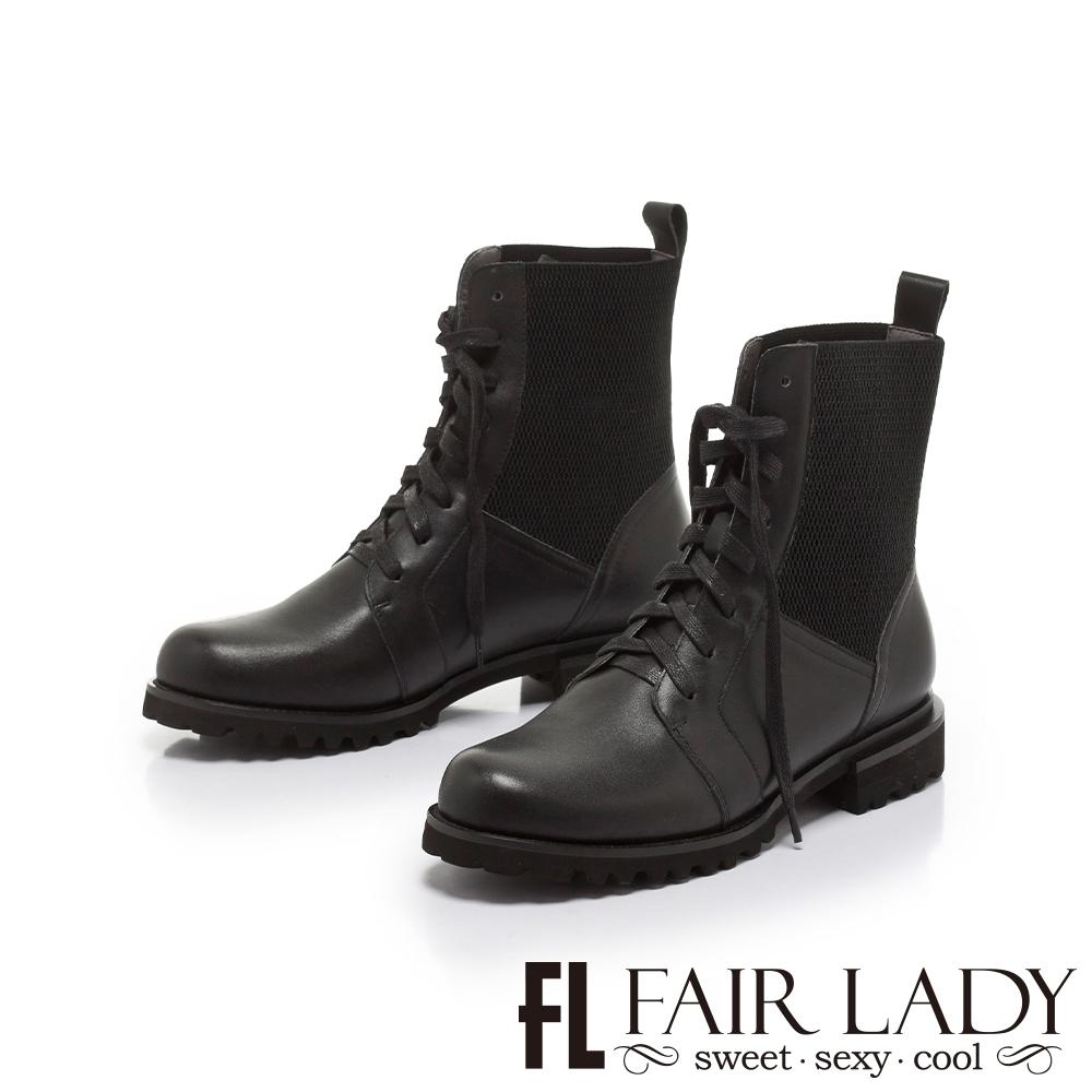 FAIR LADY 質感異材質拼接側鬆緊機車靴 黑
