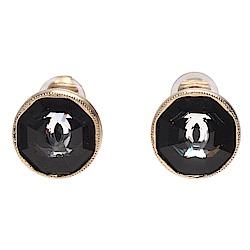 CHANEL 經典雙C LOGO切割面壓克力夾式耳環(黑X金)