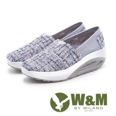 W&M BOUNCE 多色編織 厚底休閒女鞋-灰(另有藍、粉)