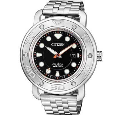 CITIZEN 星辰 限量套錶 200米防水運動錶 AW1531-89E 黑/41mm