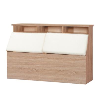 綠活居 菲娜現代風5尺棉麻布雙人床頭箱-156x31x94cm免組