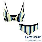 Pierre Cardin皮爾卡登 C罩 直條紋印花內衣(成套-黃藍)