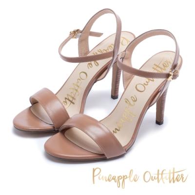Pineapple Outfitter 氣質可人 牛皮一字細高跟涼鞋-棕色
