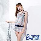 SUMMERLOVE夏之戀 大女條紋緹花長版四件式泳衣