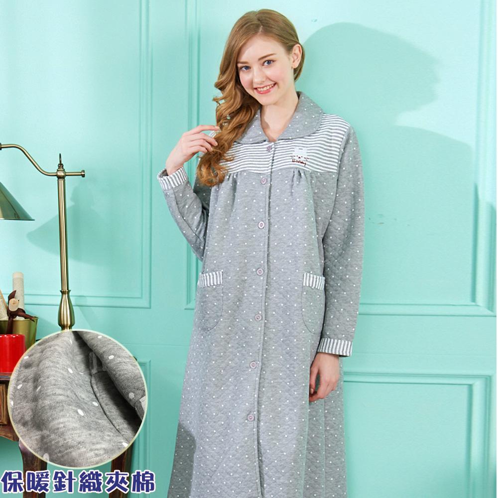 睡衣 哈尼白兔點點 保暖針織夾棉長袖連身睡衣居家服(R75212-6麻灰)蕾妮塔塔