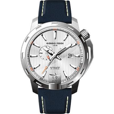 GIORGIO FEDON 1919 永恆系列運動版機械錶-銀x藍/45mm