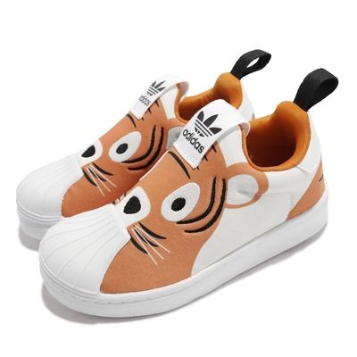 adidas 休閒鞋 Superstar 360 C 運動 童鞋 愛迪達 貝殼頭 襪套 動物造型印花 中童 橘 白 Q46318