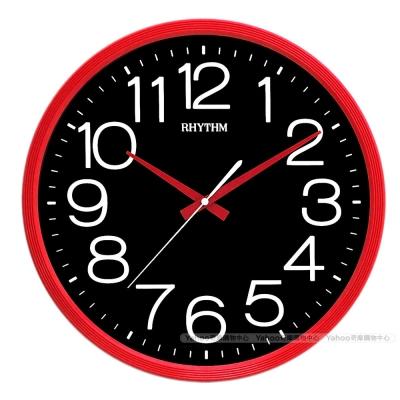 RHYTHM日本麗聲 高CP值現代風超靜音大字黑面壁掛鐘(搖滾紅黑)/36cm
