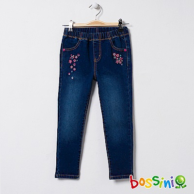bossini女童-輕鬆牛仔窄管長褲04靛藍