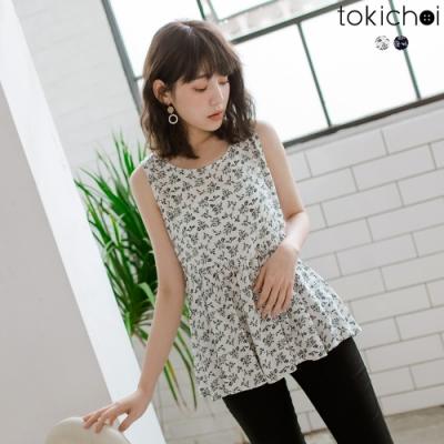 東京著衣 清甜女孩特殊印花後綁結無袖洋裝-S.M.L(共兩色)