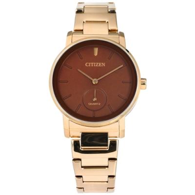 CITIZEN EQ9063-55X 簡約風格 不鏽鋼手錶-紅褐x香檳金/34mm