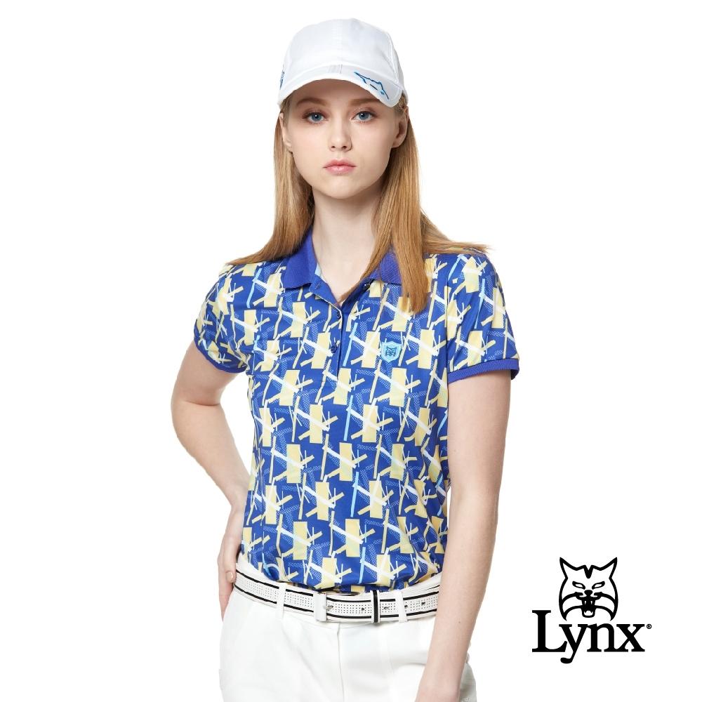 【Lynx Golf】女款吸汗速乾羅紋領活潑塗鴉印花短袖POLO衫-藍色
