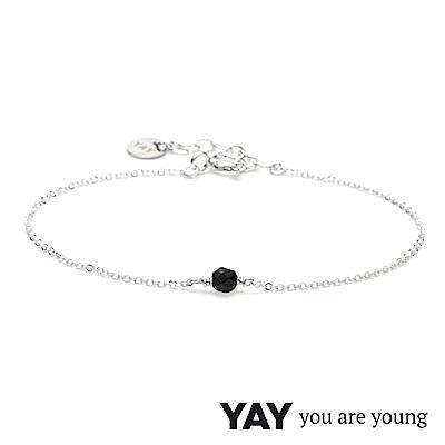 YAY You Are Young 法國品牌 Stella 黑曜石手鍊 單層款 925純銀