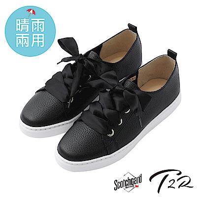 【T2R】真皮手工3M防水抗污真皮甜美綁帶懶人鞋-黑