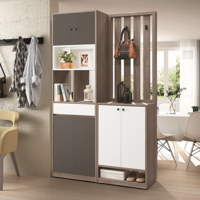 D&T 德泰傢俱 Buck胡桃色1.3尺鏡面鞋櫃(含椅)  寬40×深40×高201.5cm