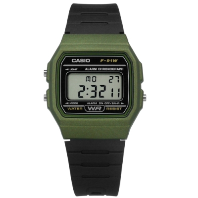 CASIO 卡西歐 計時 LED 鬧鈴 電子數位 手錶 軍綠黑色 F-91WM-3A 33mm