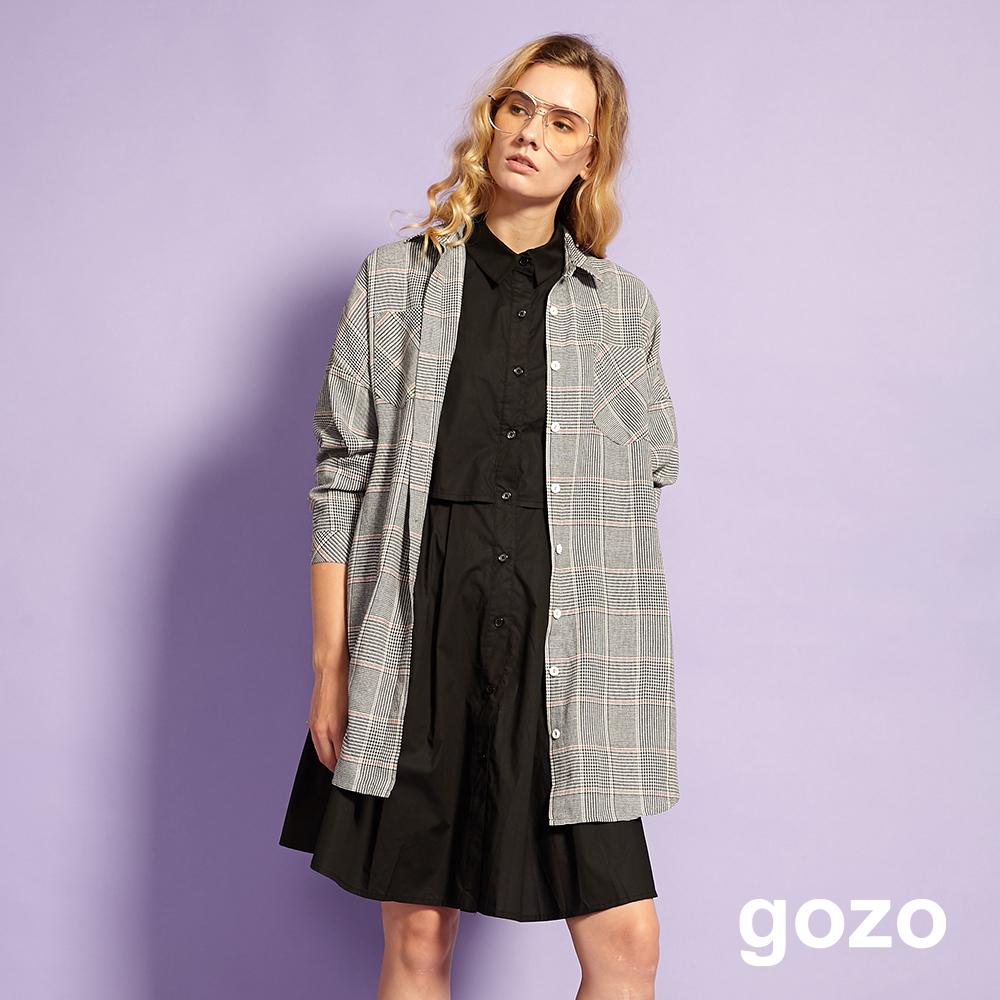 gozo 芭蕾舞曲波浪襬襯衫領無袖洋裝(黑色)