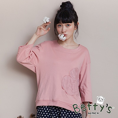 betty's貝蒂思 日系圖案拼貼七分袖T-shirt(淺粉)