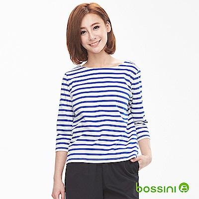 bossini女裝-圓領條紋7分袖上衣灰白