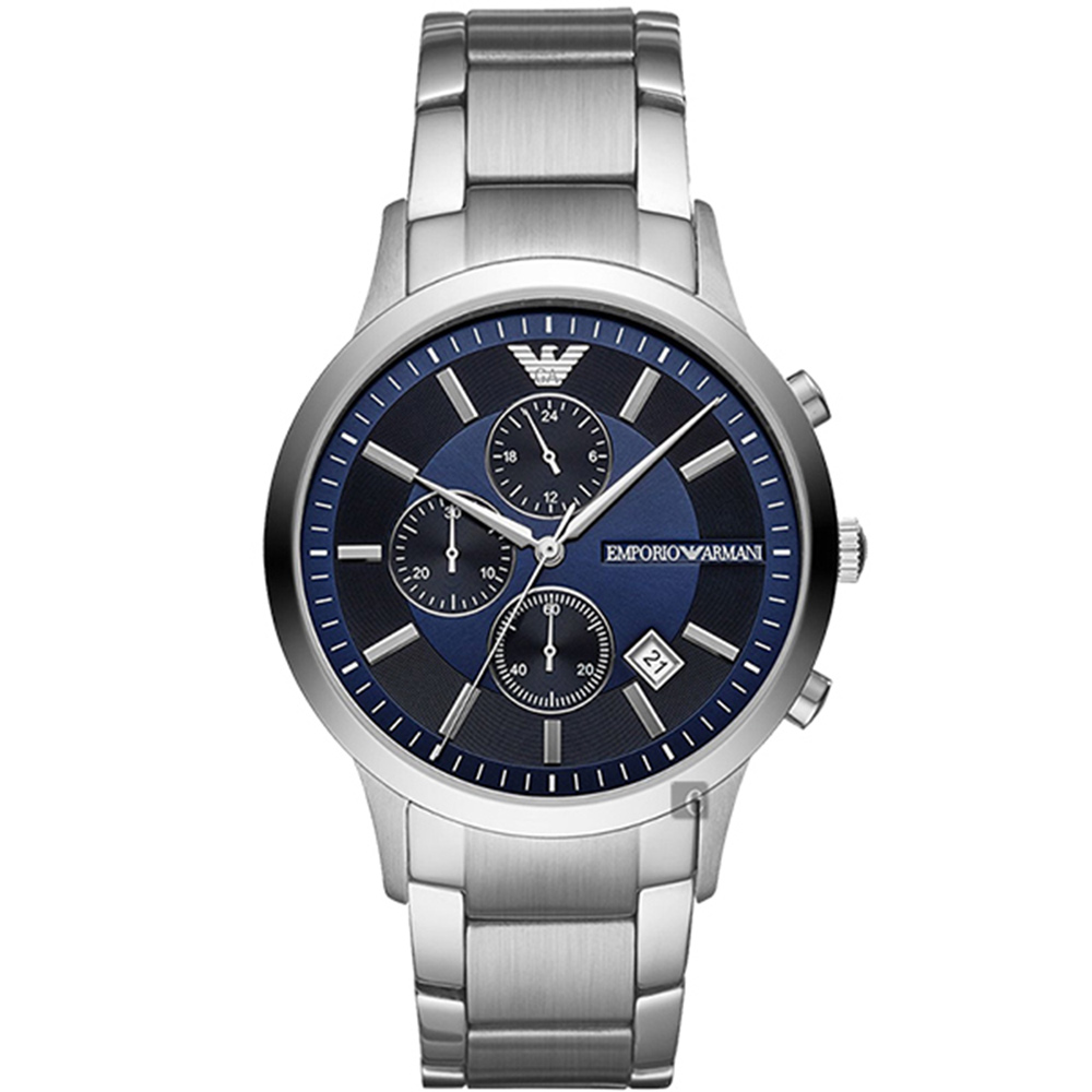 Emporio Armani 亞曼尼 RENATO 義式計時錶AR11164-藍/43mm