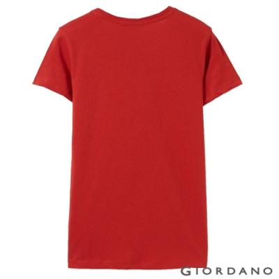 GIORDANO 女裝棉質圓領標語印花T恤-   31 高貴紅
