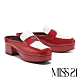 拖鞋 MISS 21 復古時髦LOGO撞色大方頭穆勒高跟拖鞋-紅 product thumbnail 1