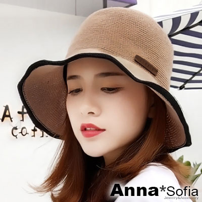 AnnaSofia 俏結線織滾色條邊 軟式漁夫帽盆帽(褐咖系)